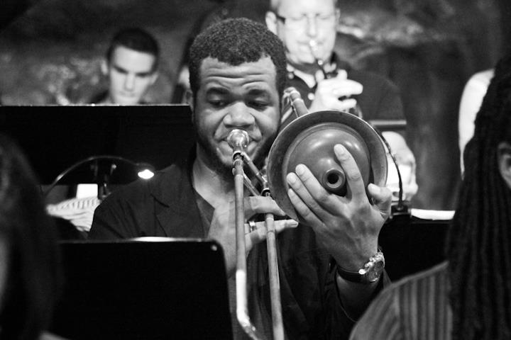 Corey Wallace on trombone with Bohemian Caverns Jazz Orchestra at Bohemian Caverns