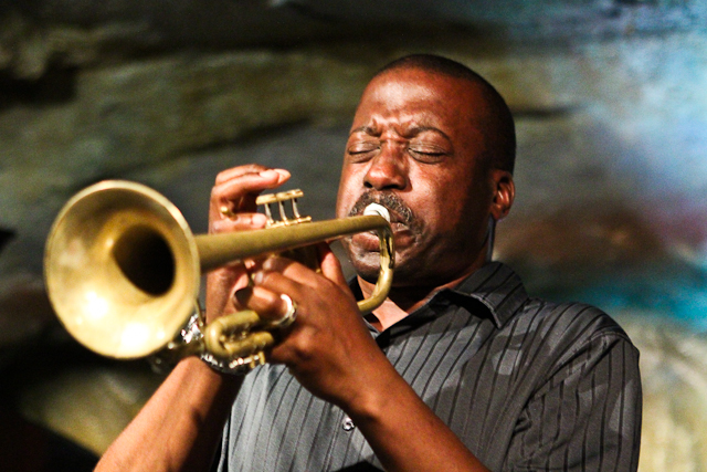 Kenny Rittenhouse on trumpet with the Elijah Balbed Quintet at Bohemian Caverns