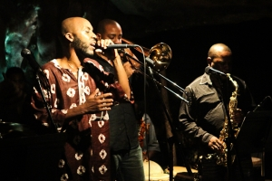 Ka'Ba Akintunde, vocals, Reginald Cyntje. trombone and Antonio Parker, saxophone