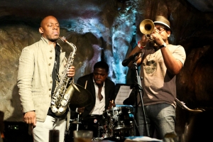Marcus Strickland, saxophone, Justin Faulkner, drums and Etienne Charles, trumpet