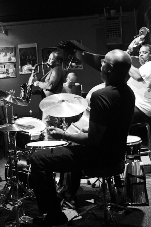 Antonio Parker, saxophone, Keith Killgo, drums, Darius Scott, piano and Cheney Thomas, bass