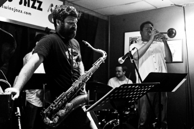 Joe Herrera, trumpet with Bobby Muncy on saxophone, Kevin Pace, bass, and Andrew Hare, drums