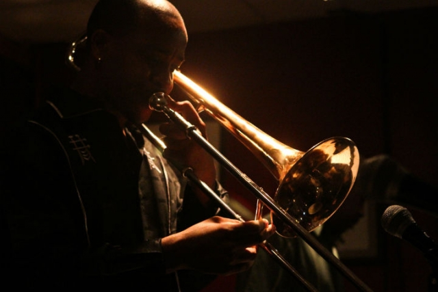 Shining light: Reginald Cyntje on trombone