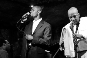 Kiyem Ade, vocals, Ron Sutton Jr., saxophone, and Vince Evans, piano