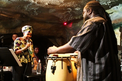 Akua Allrich, vocals and Agyei Akoto, congas with Sam Prather, piano and Lyle Link, saxophone