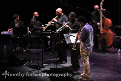 John Williams, trumpet, Joe Ford saxophone, James King, bass, Arnold Lee, saxophone, Eden Ladin, keyboard, and Allyn Johnson, piano