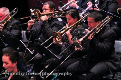 Jen Krupa, Corey Wallace, and Brian Keegan on trombone