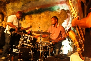 Terence Arnett, drums with Tarus Mateen, bass and Brian Settles, saxophone