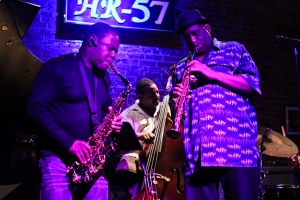 Antonio Parker, saxophone, Cheney Thomas, bass, and Allan Barnes, saxophone